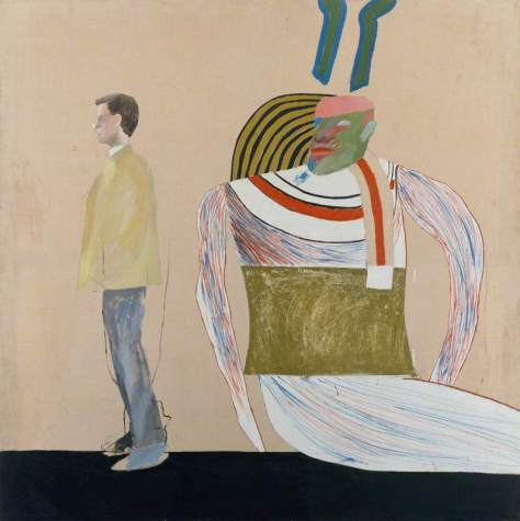 Hockney, David; Man in a Museum (or You're in the Wrong Movie); British Council Collection; http://www.artuk.org/artworks/man-in-a-museum-or-youre-in-the-wrong-movie-176794